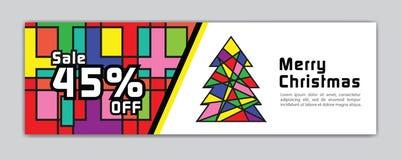 圣诞节横幅,销售横幅模板,水平的圣诞节海报,卡片,倒栽跳水,网站,五颜六色的背景,传染媒介 向量例证