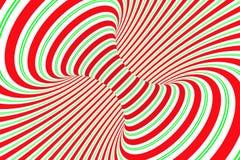 圣诞节欢乐红色和绿色螺旋隧道 镶边扭转的xmas错觉 催眠背景 3d例证回报 库存图片
