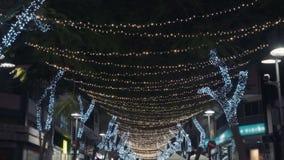 圣诞节欢乐街灯在夜城市的中心 股票录像