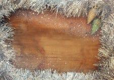 圣诞节欢乐装饰的图象在木背景的 被过滤的减速火箭 图库摄影