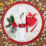 圣诞节欢乐餐位餐具 免版税库存图片
