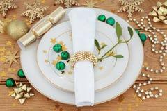 圣诞节欢乐餐位餐具 免版税库存照片