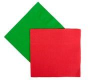 圣诞节欢乐餐巾,餐巾-红色,绿色 免版税库存照片