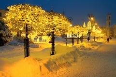 圣诞节正方形在Banska Bystrica 免版税库存图片