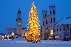 圣诞节正方形在Banska Bystrica 图库摄影