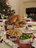 圣诞节正餐烘烤火鸡 免版税库存图片
