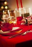 圣诞节正餐空的表 免版税库存图片