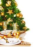 圣诞节正餐边界 免版税库存图片