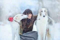 圣诞节步行 美丽的惊奇的妇女在冬天穿衣有与雪的灵狮狗优美的冬天背景,情感 Po 图库摄影