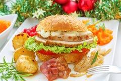 圣诞节残羹剩饭-土耳其肉三明治 免版税库存图片