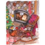 圣诞节气氛,在壁炉的背景的扶手椅子 向量例证