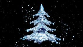 圣诞节水在黑背景的飞溅树 库存照片