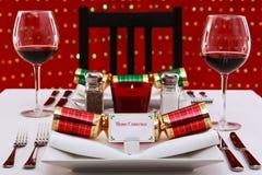 圣诞节水平的餐位餐具表 免版税库存照片