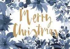 圣诞节水彩卡片 免版税图库摄影