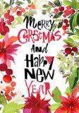 圣诞节水彩卡片 免版税库存图片