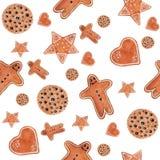 圣诞节水彩无缝的样式用姜饼曲奇饼人,星,心脏,圈子 库存例证