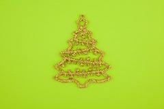 圣诞节水晶装饰冷杉金子黄色 免版税库存图片