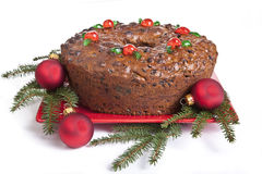 圣诞节水果蛋糕 免版税库存图片