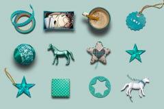 圣诞节汇集、礼物和装饰装饰品、集合和ba 免版税库存照片