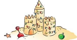圣诞节沙堡 免版税库存照片