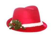 圣诞节浅顶软呢帽帽子 免版税库存照片
