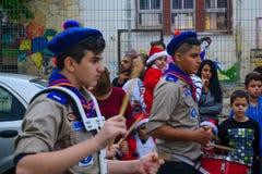 圣诞节游行,一部分的假日假日在海法 免版税图库摄影