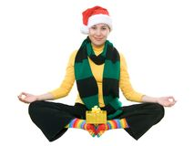 圣诞节滑稽的瑜伽 图库摄影