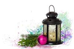 圣诞节灯笼和圣诞节球 库存照片