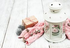 圣诞节灯笼和装饰 图库摄影