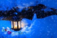 圣诞节灯笼在冬天森林和玩具里 库存图片