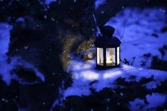 圣诞节灯笼在冬天森林里 免版税库存图片