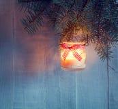 圣诞节灯笼晚上 免版税库存照片