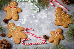 圣诞节灰色背景用霍莉分支、棒棒糖、冷杉木和姜饼曲奇饼 您的文本的框架 图库摄影