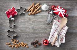 圣诞节烘烤框架背景 免版税库存图片