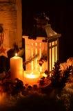 圣诞节烛光天使雪 免版税库存照片