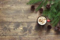 圣诞节热巧克力用在木背景的蛋白软糖 与拷贝空间的顶视图 免版税库存照片