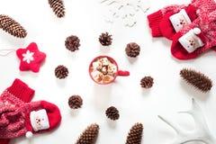 圣诞节热巧克力用蛋白软糖,锥体,白色毛皮,红色感觉星,在白色背景的被编织的袜子 库存图片