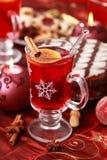 圣诞节热打孔机酒冬天 库存图片