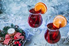 圣诞节热的被仔细考虑的酒 免版税库存图片
