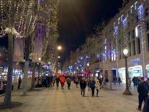 圣诞节焦急Elysee巴黎 免版税库存照片