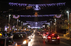 圣诞节照明在海法 免版税库存图片