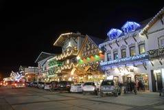圣诞节照明设备在Leavenworth 免版税库存照片
