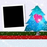 圣诞节照片框架逗人喜爱的树 免版税库存照片
