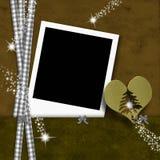圣诞节照片框架金心脏 免版税库存照片