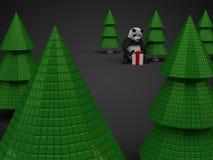 圣诞节熊猫礼物在黑暗的背景的赠送箱树 图库摄影