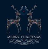 圣诞节爱驯鹿葡萄酒贺卡 免版税库存照片