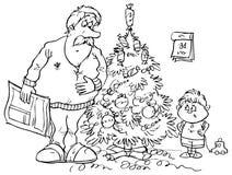 圣诞节爸爸儿子常设结构树 库存图片