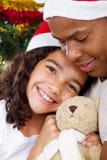 圣诞节爸爸女孩 免版税图库摄影