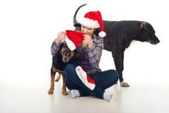 圣诞节狗准备妇女 库存照片