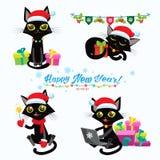 圣诞节猫 套圣诞节猫传染媒介 与节日礼物的动画片猫 库存图片